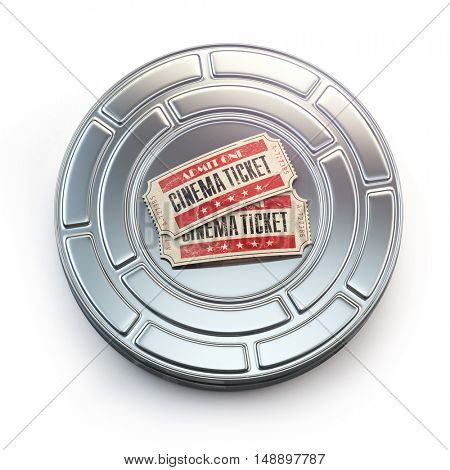 Movie, cinema or video vintage concept. Tickets on retro film reel or canister. 3d illustration
