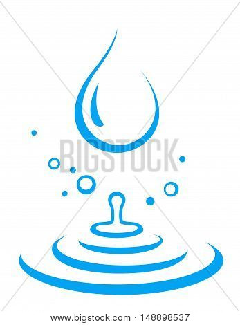 abstract blue splash of water droplet icon on white