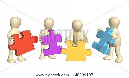 Success of teamwork. Four puppets with multi-colored puzzles. Isolated on white background. 3d render