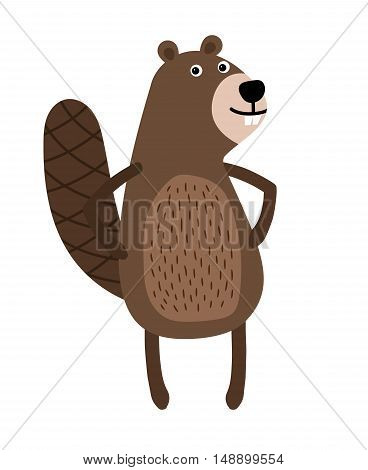 Nice Beaver standing on two legs smiling