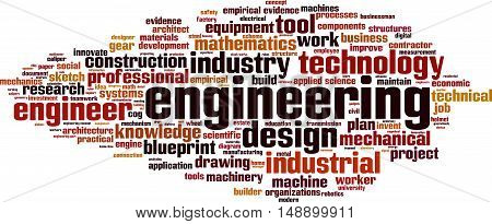 Engineering word cloud concept. Vector illustration on white