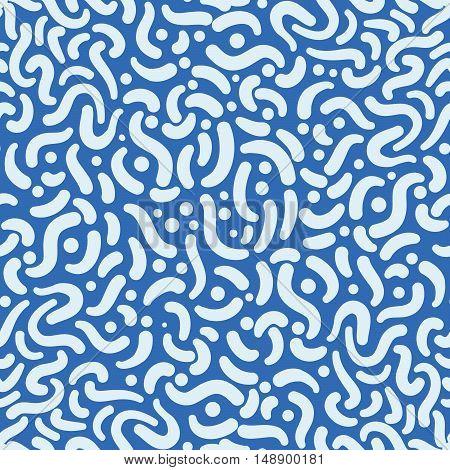 White swirls on blue abstract seamless pattern