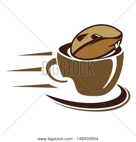 Gopher Coffee glass icon and symbol vector
