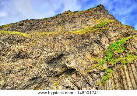 Reynisfjall Mountain at the Black Sand Beach of Reynisfjara - South Iceland