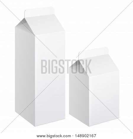 Realistic set carton of milk. carton package. vector illustration.