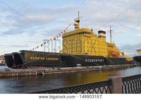 Saint-Petersburg Russia - May 2 2016: Ice breaker ship Captain Sorokin near the city embankment