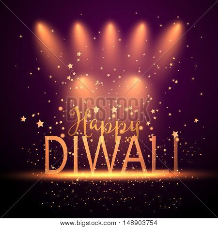 Decorative background for Diwali celebration with spotlights and stars