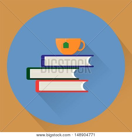 cup of tea on top of book. Vector stock illustration. Flat style. EPS10