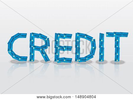Vector illustration of credit cards forming the text Credit with reflection on glossy surface.