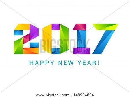 Happy new year 2017 text design colorful.