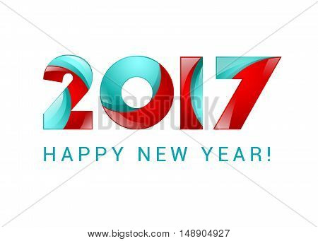 Happy new year 2017 text design blue and red.