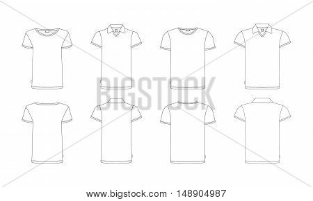Vector t-shirts template front, back view. Vector t-shirts isolated on white. White vector tshirt in outline style. Two kinds of men's and women's t-shirts.