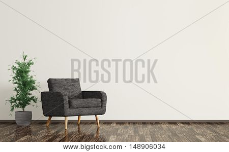 Interior Of Living Room With Black Armchair 3D Rendering