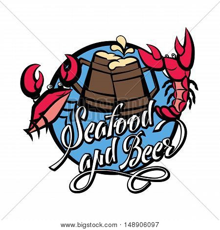 Logo seafood and beer lettering. Crayfish and crab red with beer glasses. Vector illustration isolated on white background.