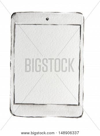 Isolated watercolor white tablet on white background.