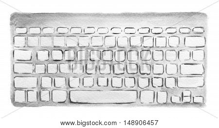 Isolated watercolor white keyboard on white background. Computer or laptop equipment.