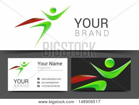 vector colorful banner superhero holding card logo abstract