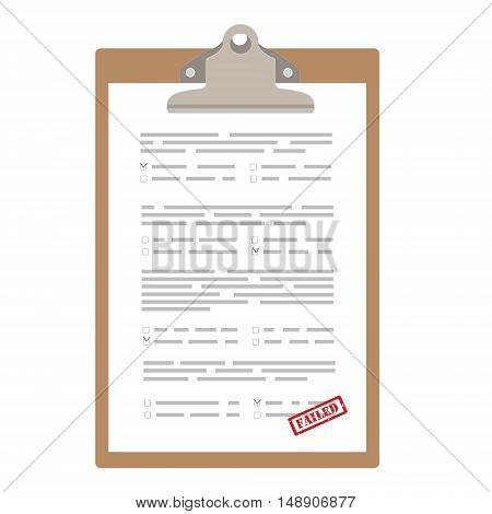 Vector illustration test exam paper with red rubber stamp failed. Answer of final exam concept. Score of test. Exam icon. Paper on clipboard