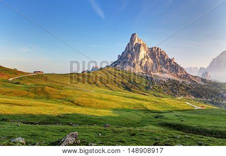 Landscape nature mountan in Alps Dolomites Giau.
