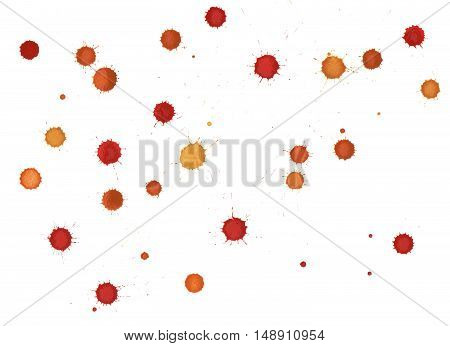 Watercolor Red, Orange And Yellow Blobs, Isolated On  Background.