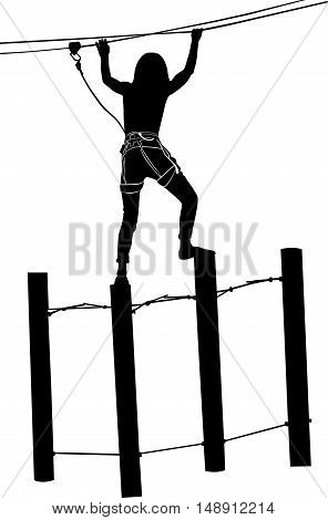 adventure park rope ladder. Woman on cables in an adventure park on a difficult course. Adventure. adventure park. adventure park vector black silhouette isolated on white background