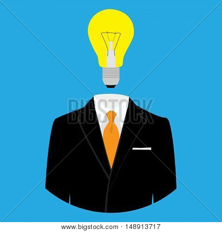 Vector illustration of man with light bulb head concept for creative. Bright business idea. Man with a light bulb instead of head