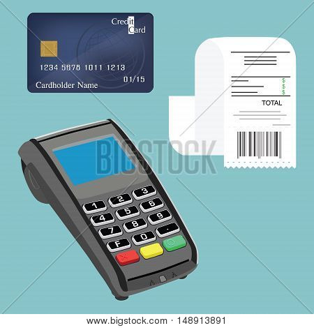 Vector illustration credit card terminal bill or check and credit card. Cashless payments. Pos payment and credit card payment concept.