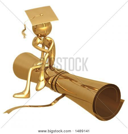 Golden Grad In Thinker Pose On Diploma Graduation Concept