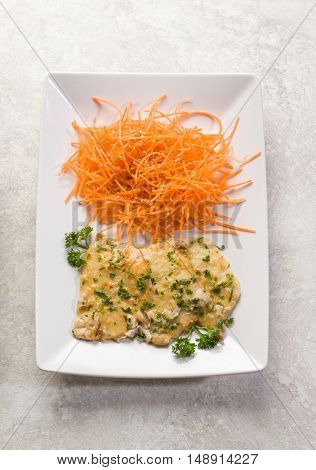 white wine escalope with carrots salad