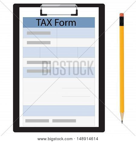 Vector illustration black clipboard with income tax form and black pencil. Federal income tax form. Tax return