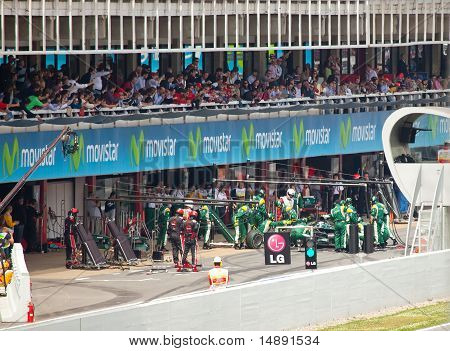 The racing car in lock-up garage during The Formula 1 Grand Prix at autodrome