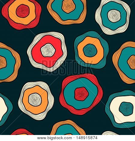 Multicolor messy drops on dark background seamless vector pattern for textile background wrapping paper.
