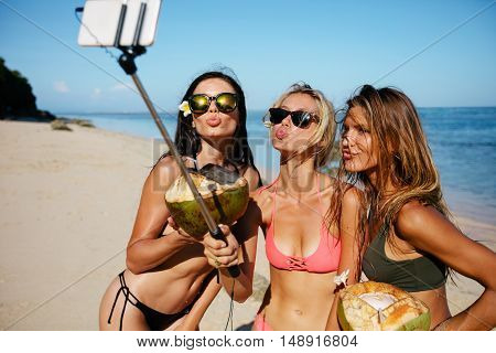 Women Pouting For Selfie On The Beach