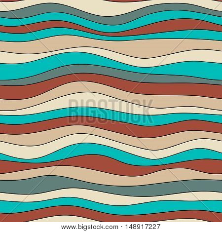 Colorful wave texture seamless vector pattern for textile backdrops wrapping paper and other.