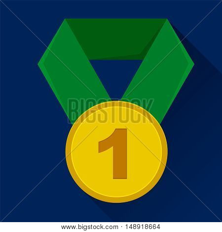 First place medal icon. Green ribbon. Blue background. Flat style