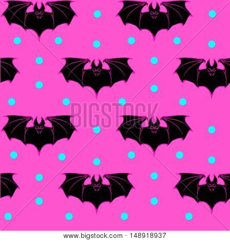 Seamless pattern with bats for Halloween. Vaporwave and seapunk palette. EPS10 vector illustration.