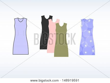 Colorful dress template, mold, sample. vector illustration