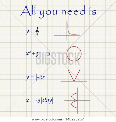 All you need is love card made with mathematical functions