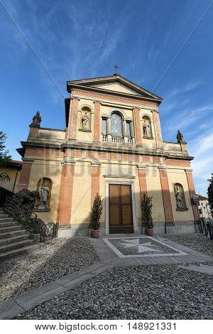 Exterior of the historic Sant'Antonino church in Lozza (Varese Lombardy Italy)