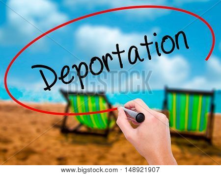 Man Hand Writing Deportation  With Black Marker On Visual Screen