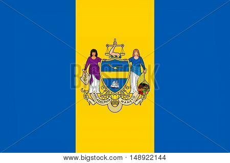 Flag of Philadelphia is the largest city in the Commonwealth of Pennsylvania United States