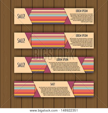 Banner Template With 3D Paper Colorful Lines