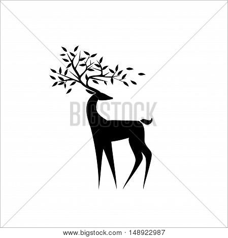 Logo Black deer on a white background with the leaves on the horns