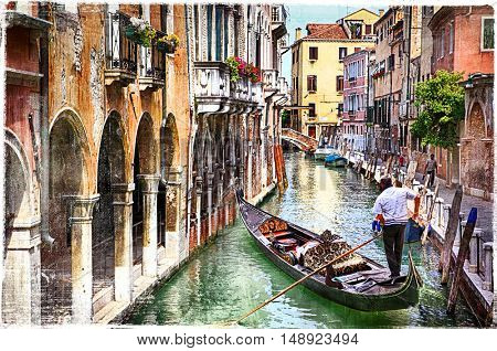 Romantic canals of beautiful Venice, artwork in paintig style