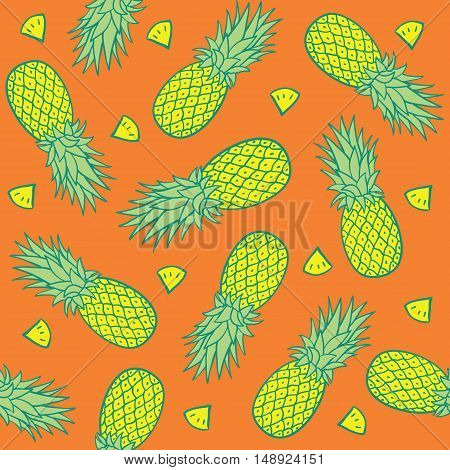 Seamless Pattern with Pineapples. Background. Vector illustration