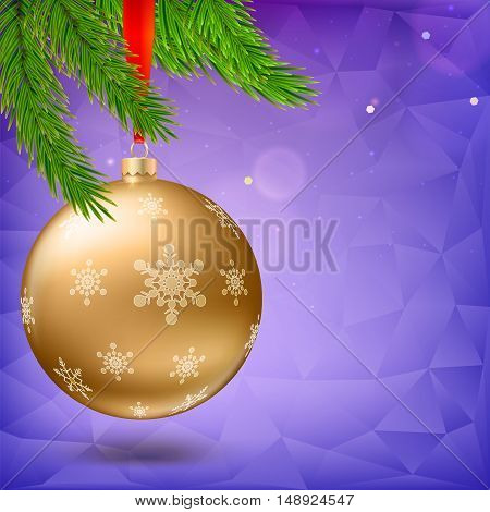Gold Christmas ball with green fir branches on the background made of triangles. Realistic vector bright ball with snowflakes and red ribbon, editable eps 10