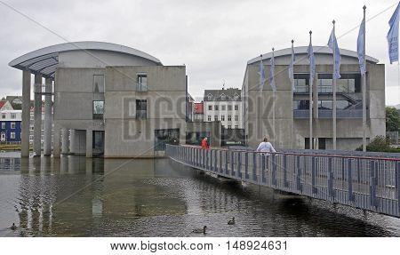 REYKJAVIK ICELAND - SEPTEMBER 15 2016: City Hall on 15 September 2016 in Reykjavik Iceland. City Hall in Reykjavik is located on the lake Tjornin