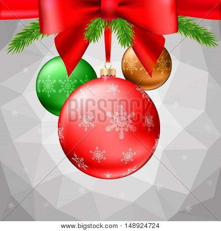 Gold Christmas balls with green fir branches and bow on the background made of triangles. Realistic vector bright ball with snowflakes and red ribbon, editable eps 10