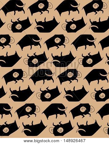 Seamless pattern of the bulls in the style of rock art. Eps 10.