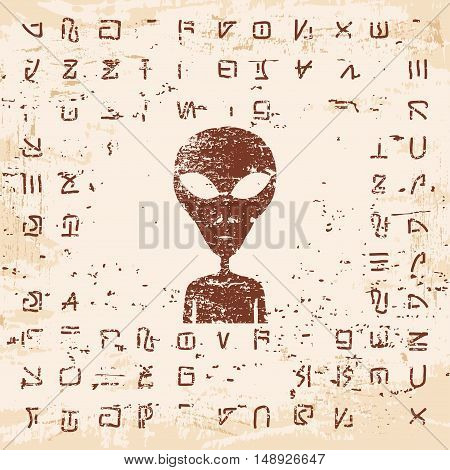 Vector illustration of alien writing, hieroglyphs and the stranger on the rock with the effect of aging.